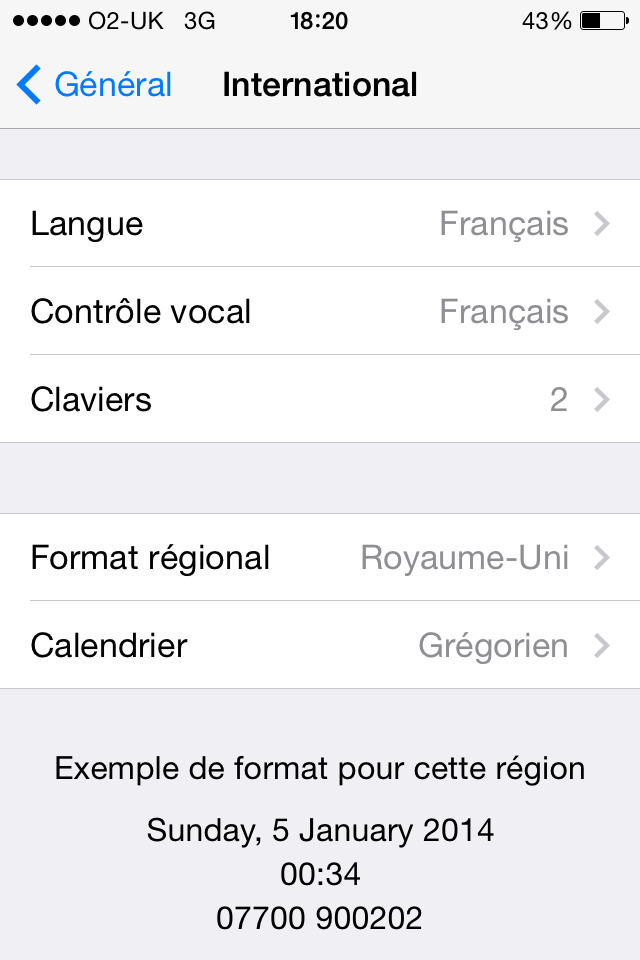 IPhone language settings